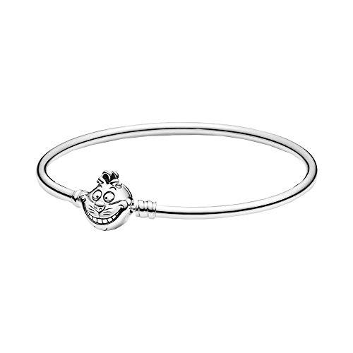 Pandora Moments Armreif mit Disney Alice im Wunderland Grinsekatze-Kugelverschluss, aus Sterlingsilber, Länge: 17cm, 599343C00-17