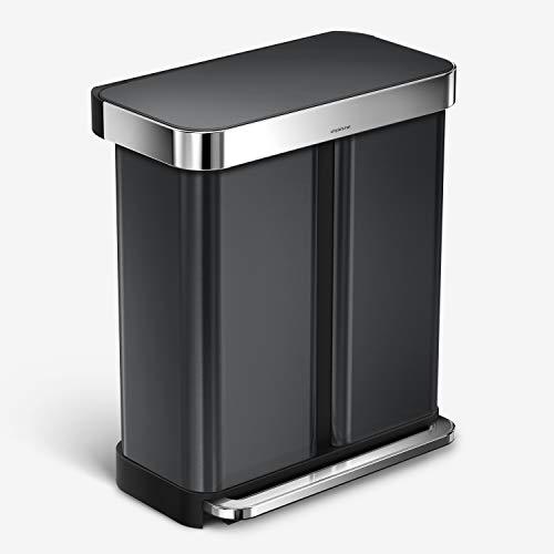 simplehuman 45 Liter / 12 Gallon Slim Kitchen Step Liner Rim, Brushed Hands-Free Trash Can, 58 Liter Rectangular Recycler, Black Stainless Steel