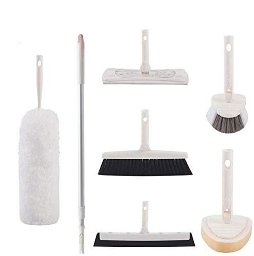 YGZN Kit de Limpieza para el hogar 7 Set! Un Plumero de Microfibra Flexible, Esponja para baño,Limpiaparabrisas, Cepillo para azulejo, Escoba, Frote en el Piso con Poste telescópico(White)