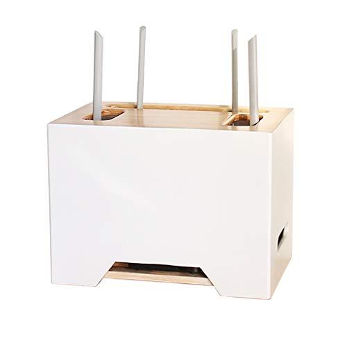 Caja De Almacenamiento De Enrutador WiFi Inalámbrico Set-Top Box De Escritorio Placa De Enchufe Caja De Almacenamiento De Cable De Clasificación De Gato Óptico (Color : Blanco, Size : 33 * 22 * 23CM)
