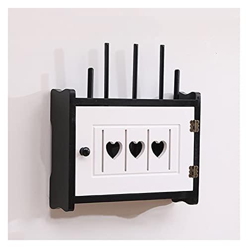 LJJOO Caja de almacenamiento de router de pared de madera montada en la pared con diseño hueco en forma de corazón, caja de almacenamiento oculte, caja de caja de ajuste de la caja del enrutador de la