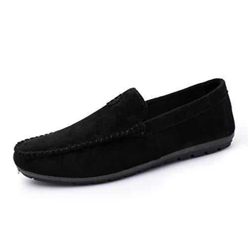 Skxinn Herrenschuhe/Herren Klassische Mokassin Weich Comfort Wildleder Loafers Schuhe Minimalistisch Flache Fahren Schuhe Bootsschuhe Slippers,übergrößen 39-44 Ausverkauf(Schwarz,43 EU)