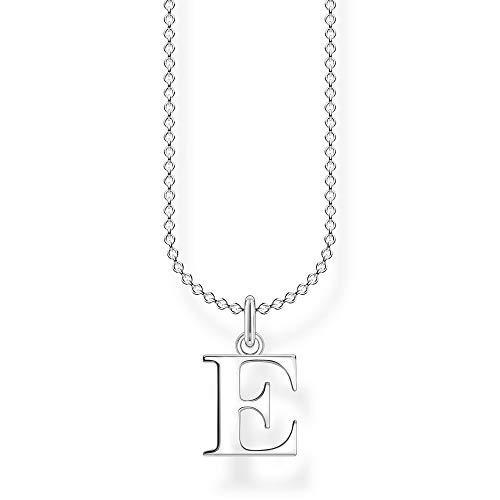 Thomas Sabo Damen Halskette Buchstabe E silber 925 Sterlingsilber, 38-45 cm Länge