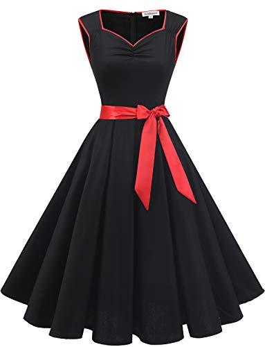 Gardenwed Damen elegant 50er Jahre Petticoat Kleider Gepunkte Rockabilly Kleider Cocktailkleider Black Red XS