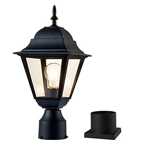 Windben Outdoor Post Light,Lamp Post Light Fixture ,Post Lantern with Pier Mount Base ,Matte Black