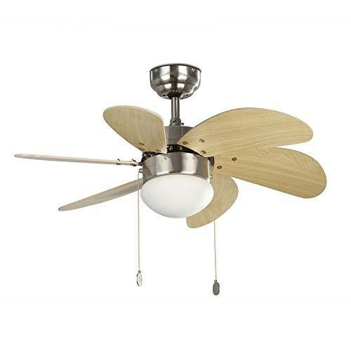 PALAO FARO 33183 - Ventilador de techo con luz 6 palas de madera MDF, Diámetro 760mm, Accionado por cadena