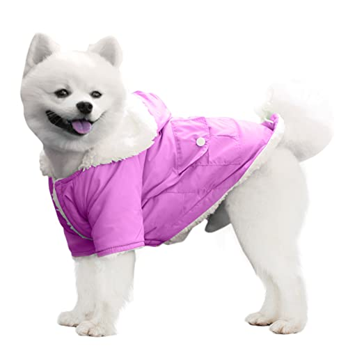 EMUST Dog Winter Coat, Dog Coats for Small Dogs Winter, Winter Dog Hoodie with Pockets, Warm Dog Clothes for Small Dogs Chihuahua, French Bulldog, Purple