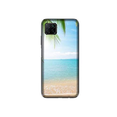 Funda P40 Lite Carcasa Huawei P40 Lite playa Esmeralda Sun Crystal Palm / Cubierta Imprimir también en los lados / Cover...