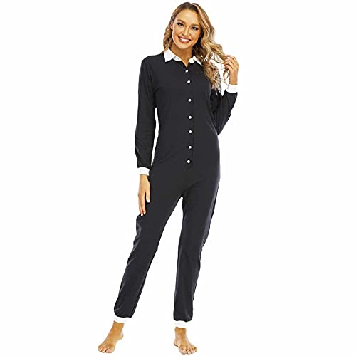 BBOOY Pijama de Mono de una Pieza para Mujer, Conjunto de Ropa de Dormir de Mameluco de Solapa a la Moda, Ropa de salón de Manga Larga Ligera,A,XL