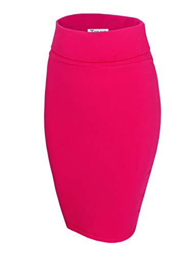 TAM WARE Womens Casual Convertible Knee Length Pencil Skirt TWCWS02-HOTPINK-US S