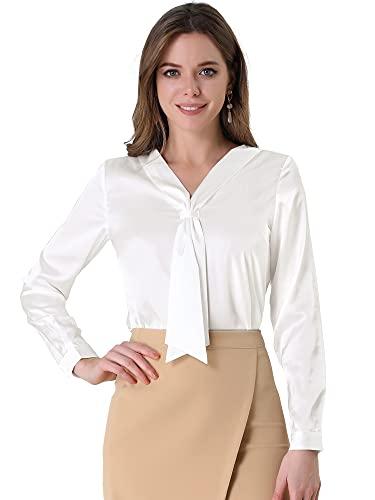 Allegra K Blusa De Seda con Cuello De Lazo Manga Larga Elegante Botón Camisa De Oficina con Puños para Mujer Blanco L