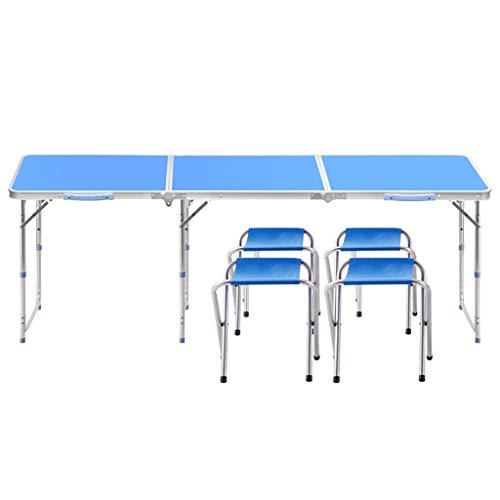 Tables et chaises Pliantes, Ajustable à 3 Vitesses 70/60 / 55cm, Portable 8 Secondes pour Se Replier -LJ Jing Shop (Couleur : Bleu)