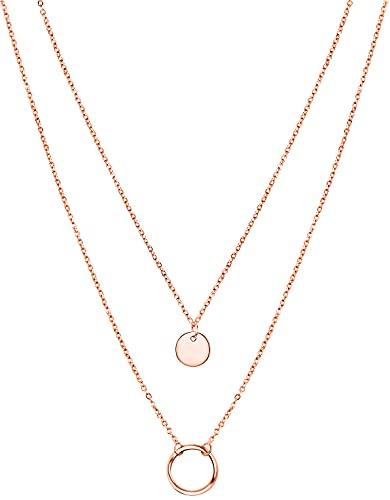Collar para mujer con anillo y colgante de placa, doble cadena de acero inoxidable de 40-48 cm de largo + 5 cm de extensión de 18 quilates, oro rosa y plata., Acero inoxidable,