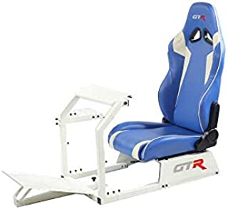 GTR Simulator GTA-WHT-S105LBLWHT GTA Model White Frame with Blue/White Real Racing Seat, Driving Simulator Cockpit Gaming Chair with Gear Shifter Mount