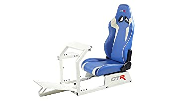 GTR Simulator GTA-WHT-S105LBLWHT GTA Model White Frame with Blue/White Real Racing Seat Driving Simulator Cockpit Gaming Chair with Gear Shifter Mount