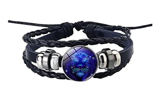 MRZJ Pulsera de piel con signo del zodiaco 12 constelaciones, para hombre y mujer, con abalorios, accesorio de regalo, pulsera punk trenzada (peces, talla única), león