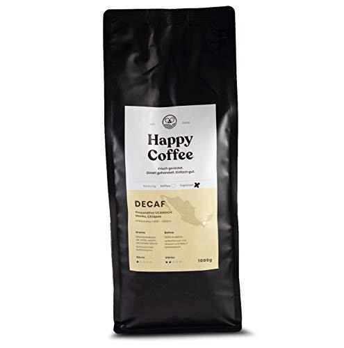 HAPPY COFFEE Entkoffeinierte Bio Espressobohnen [DECAF] |Schokoladig, Mild & Säurearm | Für Espresso & Kaffeevollautomaten | Ganze Bohne (1 KG)
