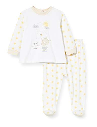 Chicco Completo 2 Pezzi Unisex: T-Shirt Coprifasce + Ghettina Mono Corto, Blanco (Bianco 033), 74 (Talla del Fabricante: 074) para Bebés