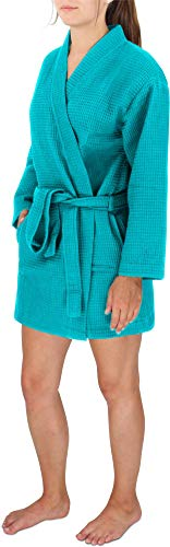 Damen Morgenmantel Baumwoll-Kimono mit Waffelpique - kurzer Waffelbademantel - Öko Tex 100 - Premium Qualität Farbe Türkis Größe M