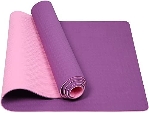 Esterilla de yoga, esterilla de ejercicio, esterilla de fitness, doble capa, dos colores, color único, soporte plano opcional, soporte plano para ventana (color: rosa y morado)