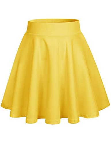DRESSTELLS Falda Mujer Mini Corto Elástica Plisada Básica Multifuncional Yellow 2XL