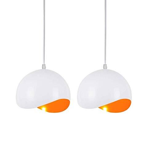 Belief Rebirth 2-Pack orange Deckenpendelleuchte - 1 Licht, Modern Minimalist Esszimmer Schlafzimmer Flur Hängeleuchten mit gebogenem Aluminium Shade - Hängelampen for Heim-Innenbeleuchtung