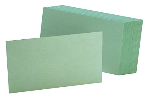 """Oxford Blank Color Index Cards, 4"""" x 6"""", Green, 100 Per Pack (7420 GRE)"""