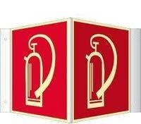 Feuerlöscher Schild Winkelschild (Nase) 15x15 cm Kunststoff nachleuchtend