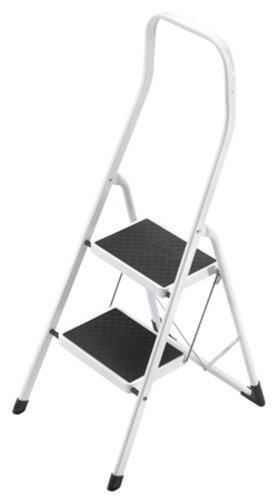 Hailo 4312-001 Taburete de acero con 2 peldaños y estribo de seguridad extra alto de 50 cm, Blanco, un tamaño