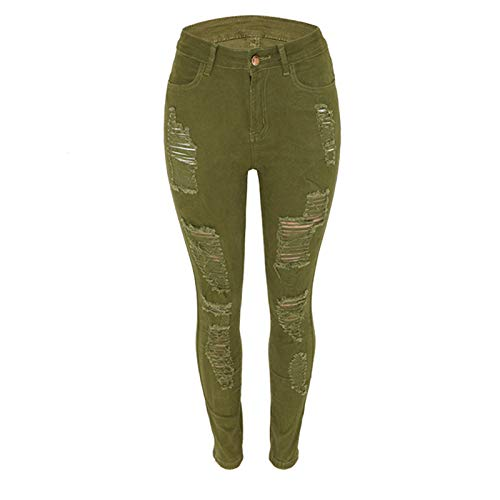 Vexiangni Pantalones vaqueros para mujer, corte ajustado, desgarrados, con agujeros, elásticos, cintura alta, para mujer, Verde militar., XL