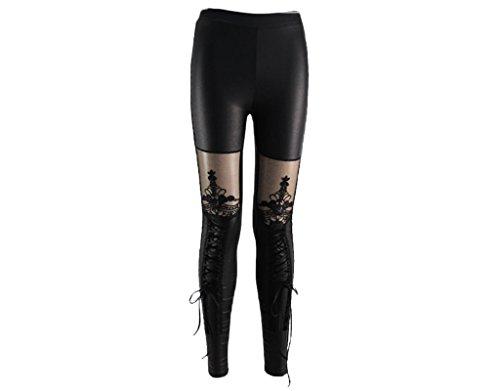 BONAMART  Damen Gothic Punk Sexy Leggins PU Leder Kunstleder Glanz mit Spitze Leggings Hose Wetlook schwarz Reißverschluss Zipper