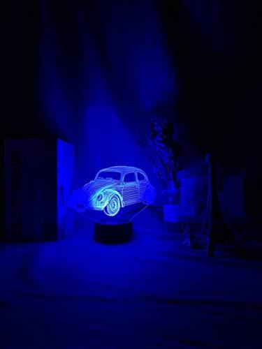 Lámpara LED 3D ilusión de luz nocturna de acrílico 3D para coche, multicolor, luz nocturna para niños o dormitorio, decoración, funciona con pilas, regalo para niños