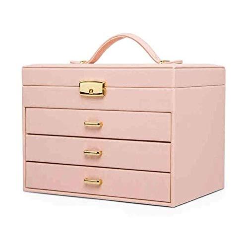 SSHA Joyero Caja de joyería Grande de 4 Capas, Ideal para Collares, Pendientes, Gafas de Sol, Pulseras, Relojes Organizador de Joyas (Color : Pink)