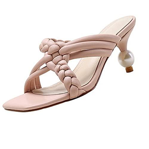 KJHKT Sandalias cómodas para mujer, sandalias de punta abierta para interiores y exteriores, suela de goma antideslizante, sandalias de verano