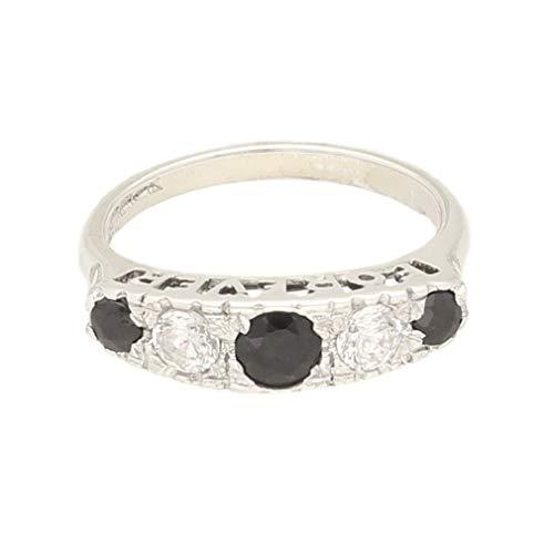Anillo de mujer de plata de ley con zafiro y diamantes de imitación
