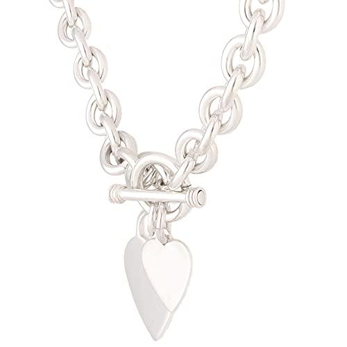 Jollys Jewellers Collar Belcher de plata de ley de 42,5 cm con barra en T y corazones (9 mm de ancho y 24 mm de largo) | Collar único para mujer