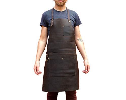 One Leaf Grembiule Professionale in Pelle per Cuoco, Macellaio, Fabbro, Tatuatore, Falegname - Tirel DX