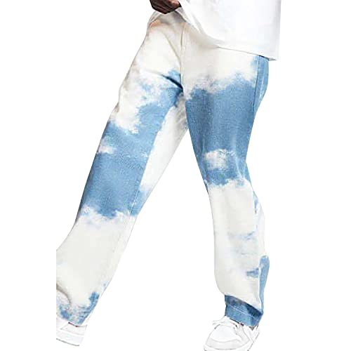 BIBOKAOKE Herren Jeans Tie Dye Printed Jeanshosen Baggy Hip Hop Denim Hose Neu Stretch Straight Jeanshose Breite Hose Biker Jeans Casual Chino Jeans Sweatpants Freizeit Karottenschnitt Jeans