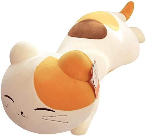 DINEGG Karikatur liegend Haltung Katze Puppe Plüsch Spielzeug Kitty Puppe Lange Kissen Sofa Kissen Mädchen Tag Geschenk 80cm (Farbe: Weiß, Größe: 60cm) YMMSTORY (Color : White, Size : 60cm)