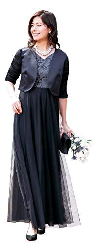 [アールズガウン]ロングドレス 結婚式 母親 親族 マザーズドレス ボレロ ジャケット セット 家族 大きいサイズ ドレス ワンピース 40代 50代 60代 FD-180095 (3L, ブラック×ブラック)