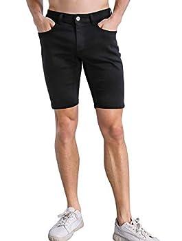 ZLZ Short Jeans for Men Men s Stretch Slim Denim Shorts with Holes - Black Size 34
