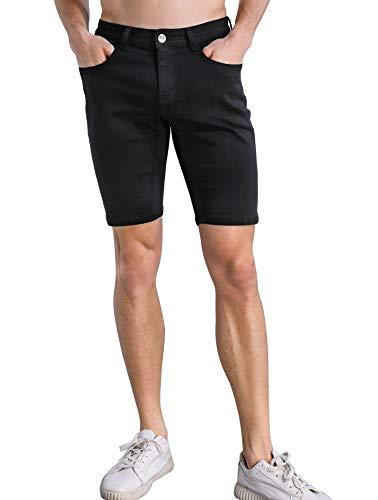 ZLZ Stretch Jean Short for Men, Men's Casual Regular Fit Denim Short Pants (Black, 30)