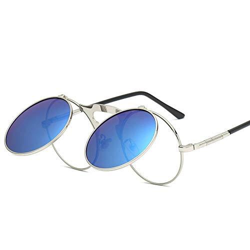 DLSM Gafas de Sol Vintage Ronda Punk Gafas de Sol Mujeres/Hombres Voltear la Cubierta de Metal de Cristal luz polarizada Apta para Gafas de Sol de Golf al Aire Libre-C2