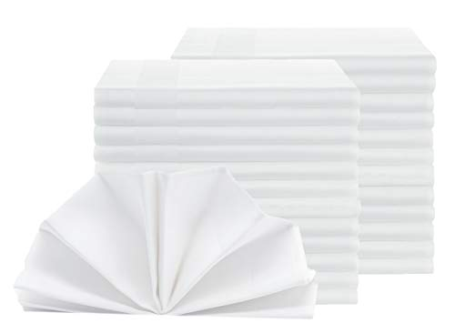 ZOLLNER 25er-Set Damast Stoffservietten, Baumwolle, 40x40 cm, Atlaskante, weiß