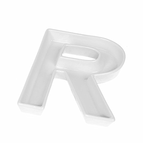 Coffeezone Small Party Candy Dishes Letter Shape Small Plates for Nuts Decoration, Wedding Gift (Letter R)