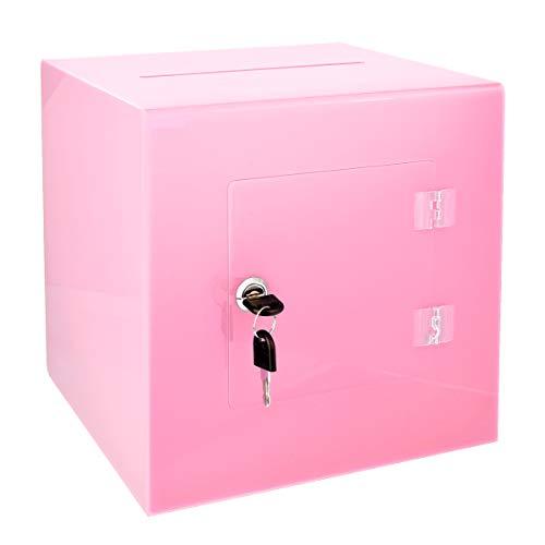 AdirOffice caja de donación de acrílico con puerta trasera fácil de abrir, caja de acrílico resistente con cierre, ideal para votación, colección de caridad y sugerencias.