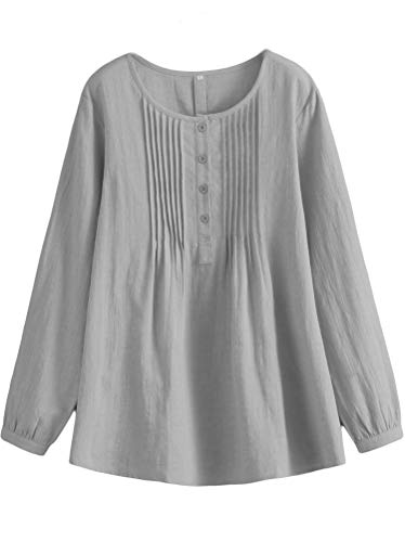 Minibee Women's Scoop Neck Pleated Blouse Solid Color Lovely Button Tunic Shirt Gray L