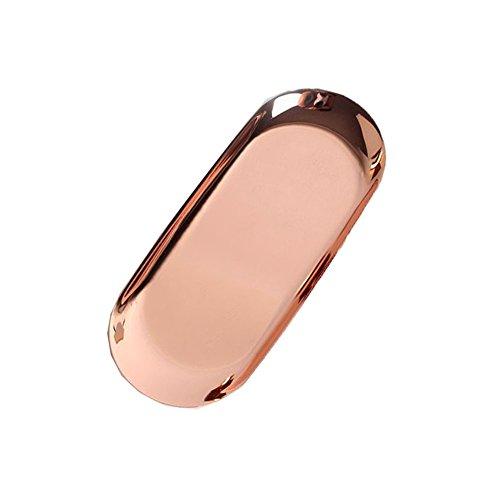 Newbeer Desserttablett Spiegel-Kerzen Teller Edelstahl Butterdose Galvanik Metall Gold Tablett für Schmuckaufbewahrung Dekoration Nachmittagstee 22,9 x 9,5 cm, Edelstahl, rose gold, 9inch