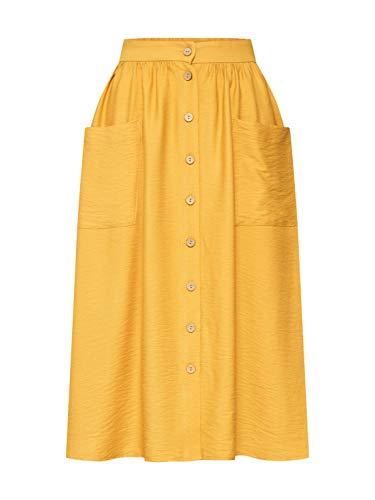 New Look Jane Twill Falda, Amarillo (Dark Yellow 87), 42 (Talla del Fabricante: 14) para Mujer