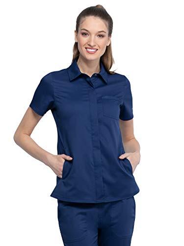Workwear Revolution Women Scrubs Top Hidden Snap Front Collar WW669, L, Navy